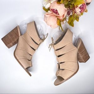 Hinge Tan Chunky Heel Sandals Lace Up Leather